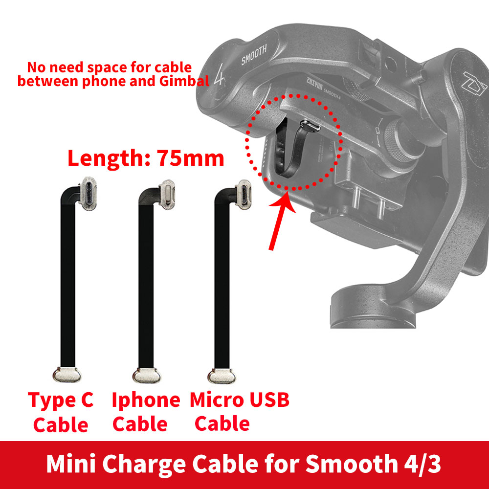 75mm Mini Seamless Smooth 4 Charge Cable Type C Cable / iphone Cable / Micro USB Cable for Zhiyun Smooth 4 Smooth 3 Samsung 12mm extra long head micro usb cable extended connector 1m cabel for homtom zoji z8 z7 nomu s10 pro s20 s30 mini guophone v19