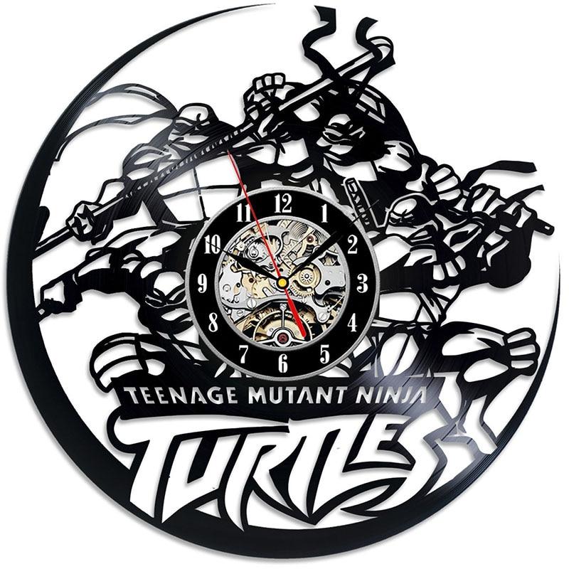 <font><b>Teenage</b></font> <font><b>Mutant</b></font> <font><b>Ninja</b></font> <font><b>Turtles</b></font> Action Figures Movie Vinyl Record Wall Clock - Gift for kids, girls and boys