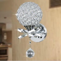 Modern Home Decoration Wall Lamp Aluminium Wire Lampshade Bedroom Light Fixture Crystal dimmable switch LED Wall Lamps