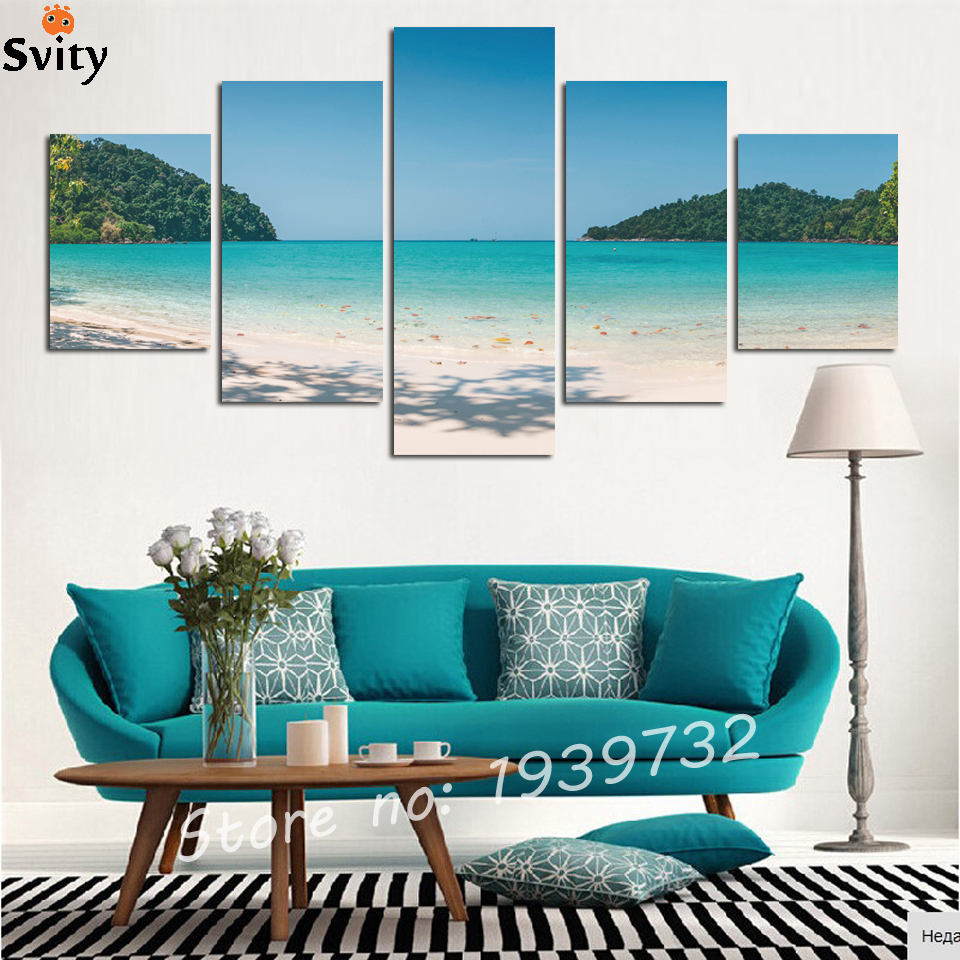 2016 Set of 5 Each Modern Home Wall Decor Canvas blue seaview Picture Art Print WALL Painting Canvas Arts no frame F1683
