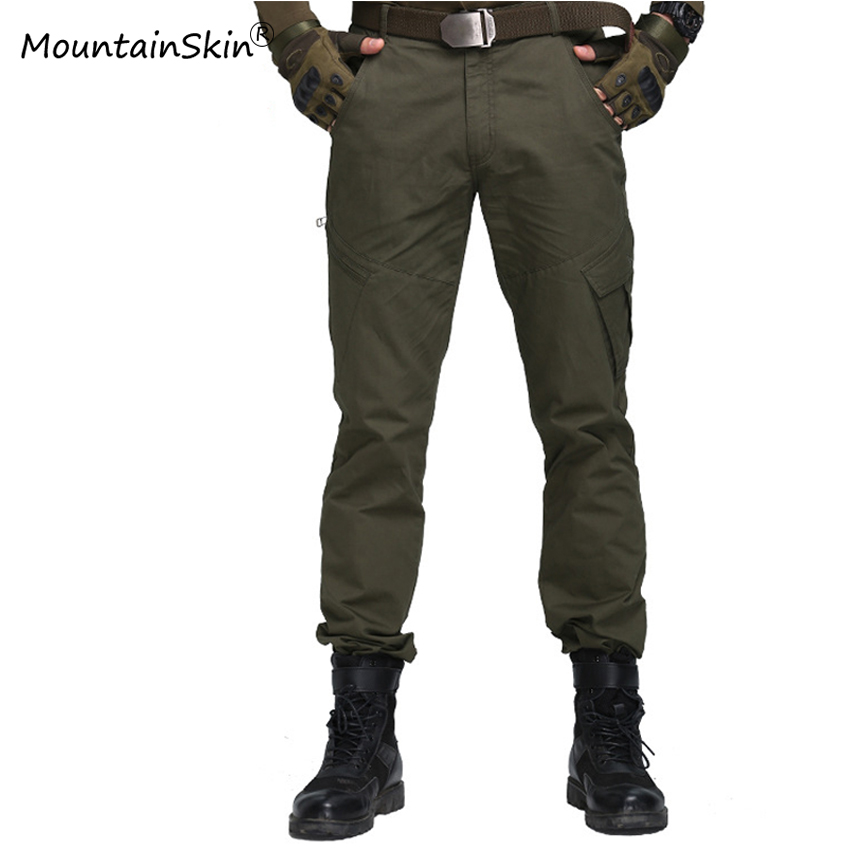 Mountainskin Cotton Pants Trousers Fitness Military Army Tactical Multi-Pocket Male Men's