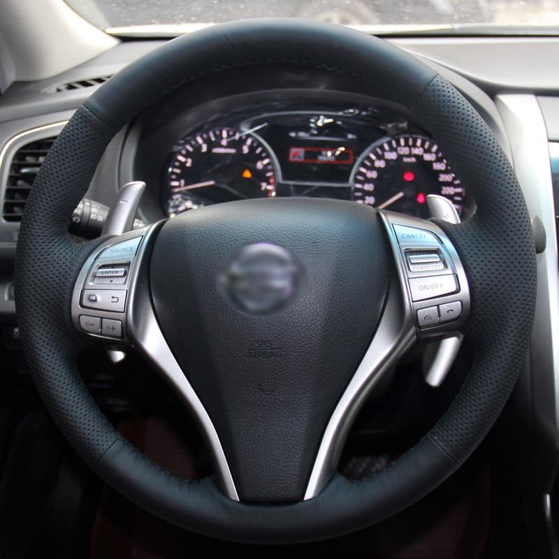 BANNIS Negro Cuero artificial DIY cosido a mano cubierta del volante - Accesorios de interior de coche - foto 3