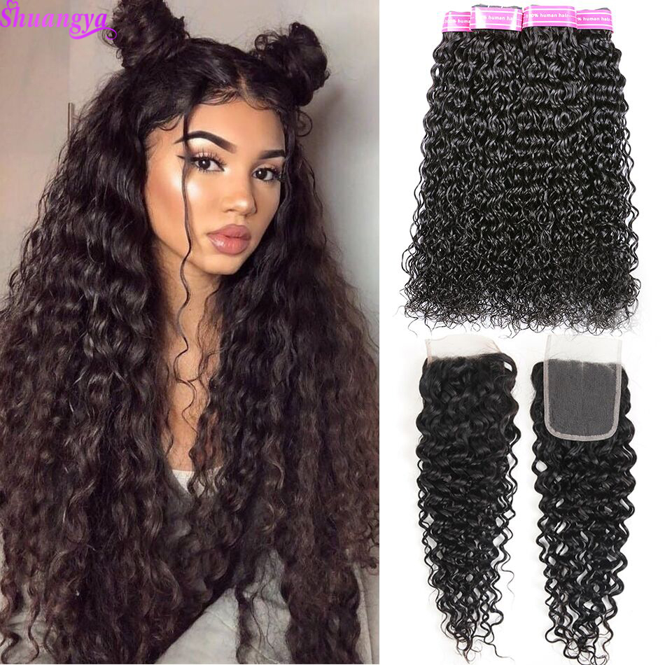 Shuangya Brazilian Hair Wave Bundles With Closure Water Wave Human Hair Bundles With Closure Remy Hair