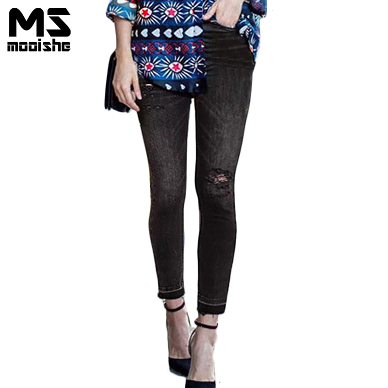 Summer Vintage Women High Waist Jeans Ripped Knee Hole Tassel Gradient Black Ankle Length Ladies Pencil Jeans  Denim Trousers new summer vintage women ripped hole jeans high waist floral embroidery loose fashion ankle length women denim jeans harem pants