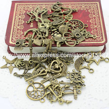 Sweet Bell 100pcs 60-80pattern Mixed Assorted Carved Charms Pendants Beads Metal Alloy Pandent Antique Bronze Diy Bead