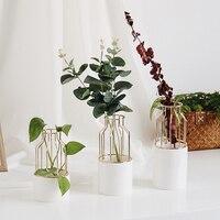 1 stücke Keramik Blumentopf Hydrokultur Blume Vase Mit Künstlerische Eisen Regal Sukkulenten Pflanzer Blume Anordnung Indoor Desktop Decor