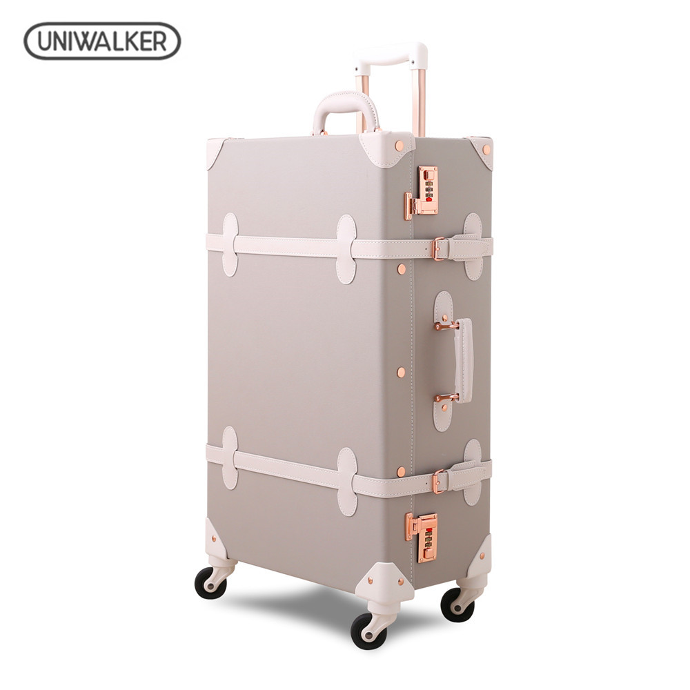 UNIWALKER Grey 12''20''22''24''26'' Retro Rolling Luggage Trolley Bagage on Spinner Wheels Travel Bags PU Leather Suitcases uniwalker 2022 24 26 drawbars