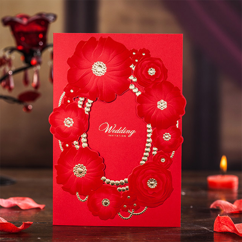 Tri-Folding Design Red Flower Rose Invitations For Wedding Party Birthday SHOW elegant Invitation Card Kit Convite Casamento square design white laser cut invitations kit blanl paper printing wedding invitation card set send envelope casamento convite
