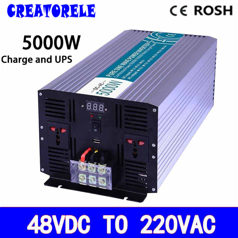 P5000-482-C dc to ac UPS power iverter 5000w 48v to 220v,Pure Sine Wave soIar iverter voItage converter with charger and UPS 5000w dc 48v to ac 110v charger modified sine wave iverter ied digitai dispiay ce rohs china 5000 481g c ups