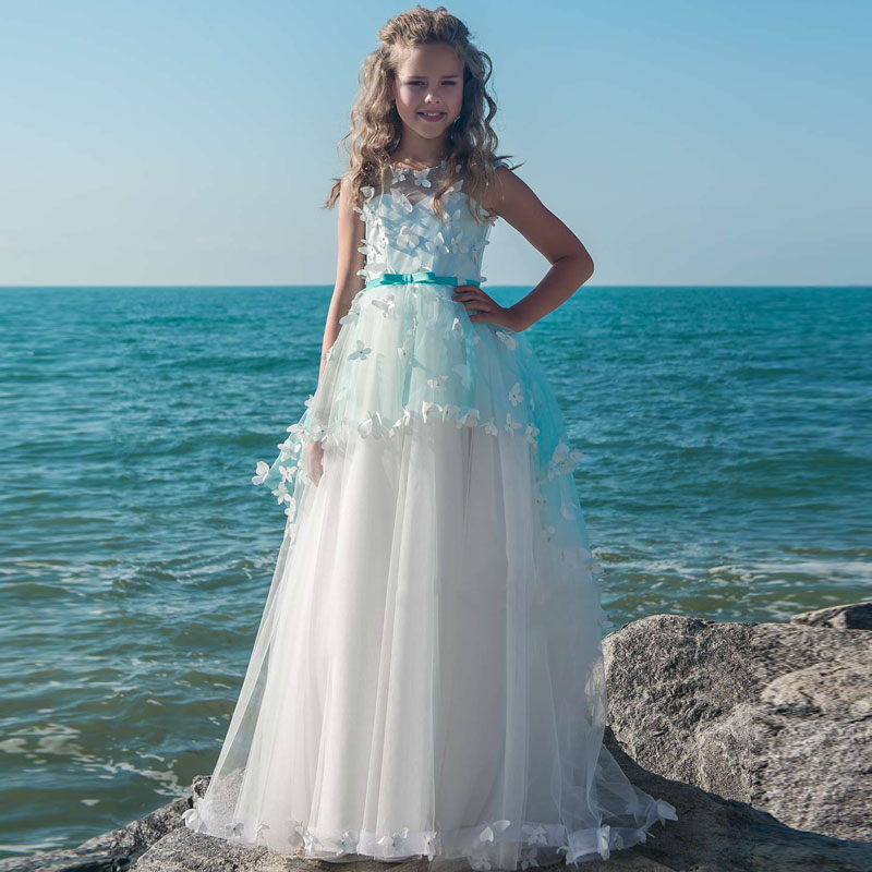 Stunning Butterfly Decoration Tulle Girls Pageant Ball Gowns Blue Lace Layered Button Back Flower Girl Dress with Satin bow sash gorgeous lace beading sequins sleeveless flower girl dress champagne lace up keyhole back kids tulle pageant ball gowns for prom