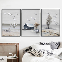 DIY Diamond Painting Full Drill 3 Pictures Birds Tree Cottage Scenery Diamond Embroidery for Living Room Home Decor Paintings