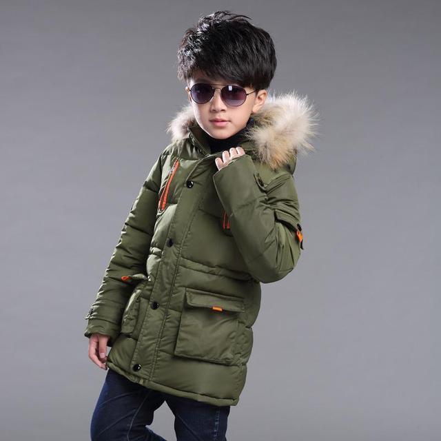2016 Novo Casaco de Inverno Menino Com Capuz Crianças Patchwork Para Baixo o Bebê Jaqueta de Inverno menino Meninos Crianças Outerwear Quente Parques 5 a anos