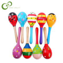 1pc Baby Kid Wooden Ball Toy Sand Hammer Rattle Musical Instrument Percussion Infant GYH(China)