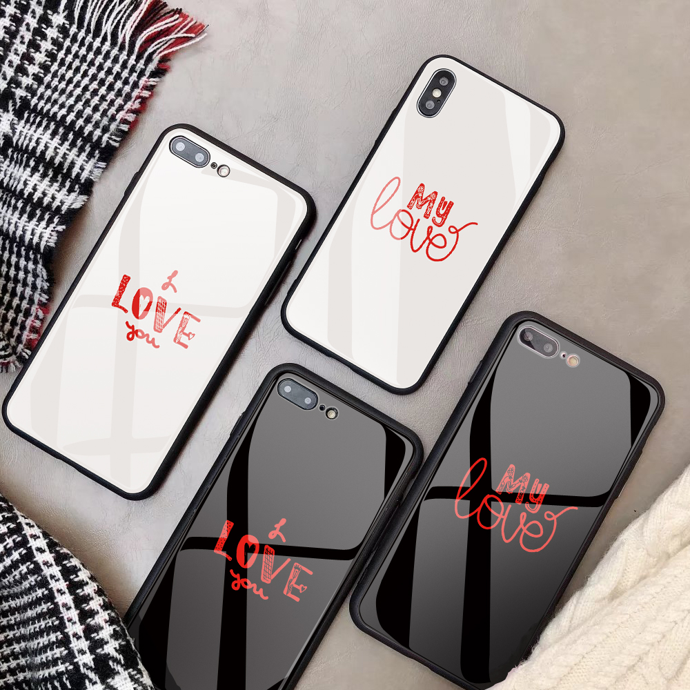 DIY Tempered Glass Phone Case For iPhone X XS MAX XR 8Plus case love Customized Coque Glass Back Cover For iPhone 7 8 6S 6 Plus iPhone