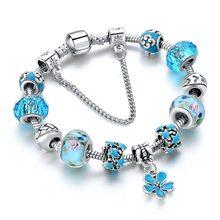 Szelan синие хрустальные бусы очаровательные браслеты и с цветами