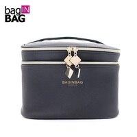 Модные черные косметичка двойной Слои составляют сумки cosmetiquera Bolso; не включая Косметика; Размеры: 21*15.5*15 см