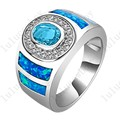 Size 6/7/8/9/10 925 Silver Filled Cute Blue Fire Opal Jewelry Round Light Blue CZ Engagement Rings for Women RS0011