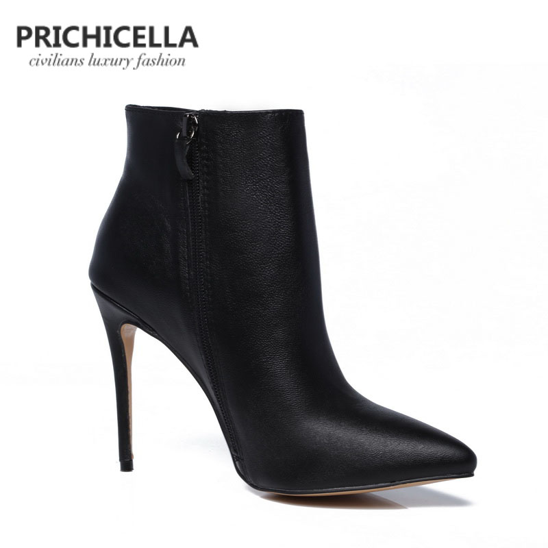 f0ab91ef0b0 PRICHICELLA Quality women genuine leather winter boots pointed toe black  stiletto heels ankle booties size34-42