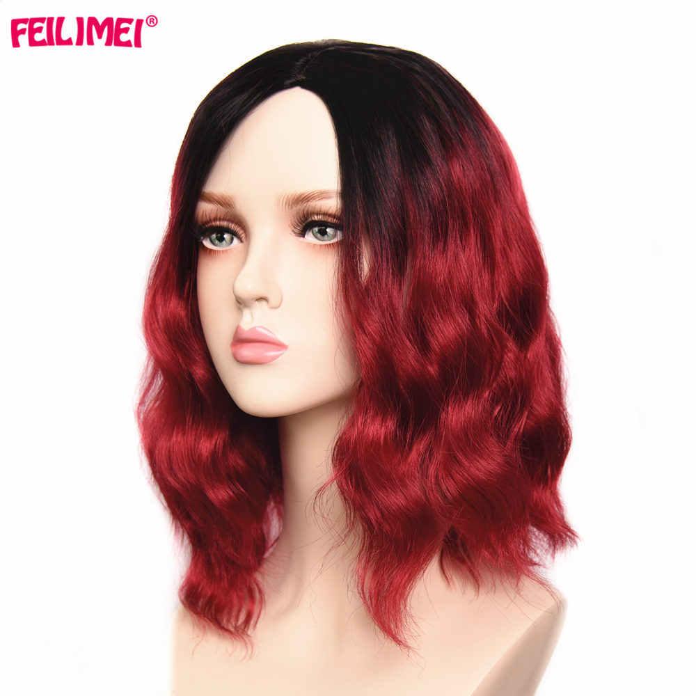"""Feilimei синтетические розовые красные парики термостойкие волосы для черных женщин 14 """"длинные волнистые женские парики для косплея Омбре"""