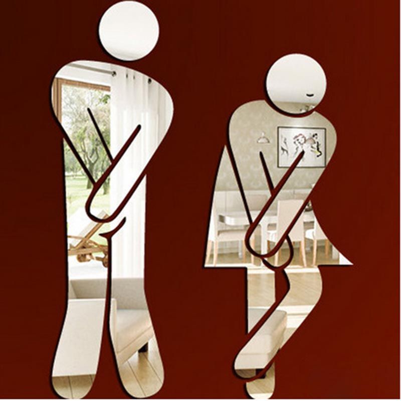 3D Toilet Entrance Sign Gold Silver Bathroom Mirror Wall Sticker Logo for Shopping Mall Public Places Toilet Door Decoration 6Z
