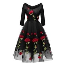 new arrival 2019 midi boho dress embroidery floral luxury elegant evening v neck Mesh vintage formal women party dresses