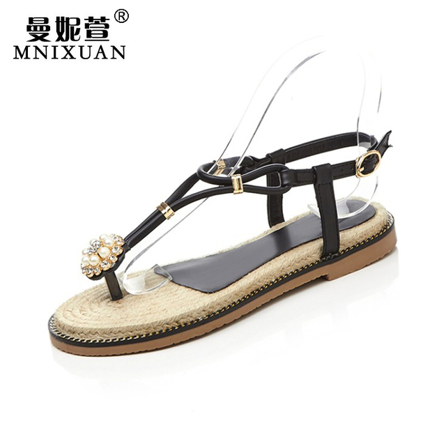 847efc9fc66 Fashion new woman flat rhinestone pearl thong sandals women shoes 2017  summer beach straw ethnic style solid casual pink black