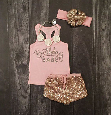 3Pcs Set Newborn Baby Girls Clothes Summer Sleeveless Pink Letter Cotton Top Sequin Pants Headband Outfits