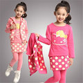 2017 newest Girl's winter clothing sets baby Girl's suit sets Girl Clothing sets t-shirts+pants+vest 3pieces/set free shipping