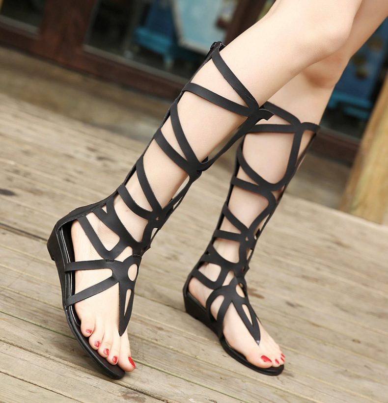 ФОТО 2017 Summer Women Rome Sandals Hollow Flat Heel Cool Boots Genuine Leather Shoes Female Gladiator Sandals Brand Shoes Black