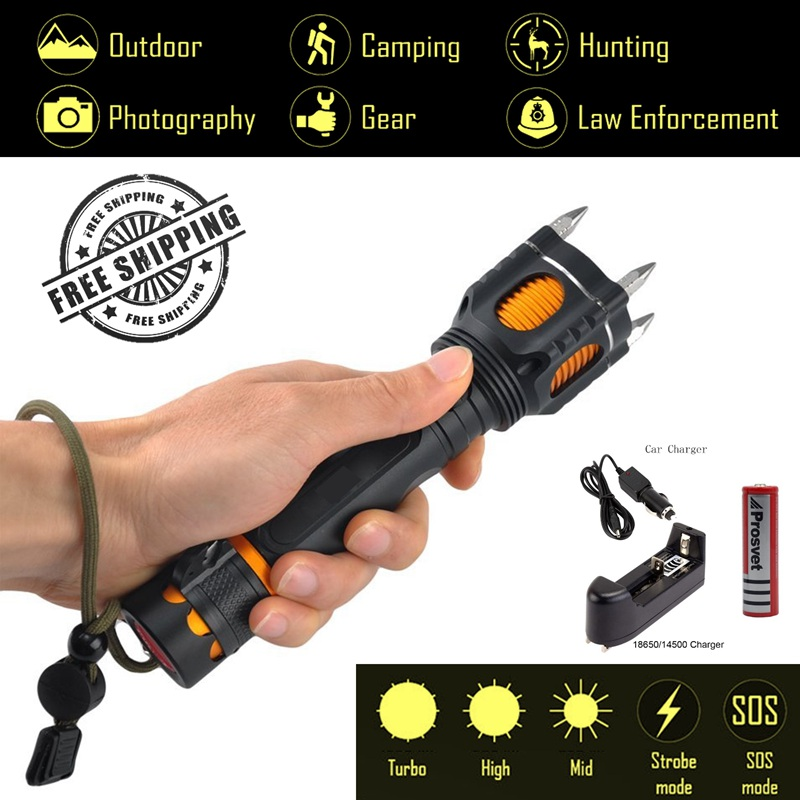 Explorer-AX Self Defense CREE XML T6 LED Tactical Flashlight,4 Attack Heads,Audible Alarm Tail for Emergency,5 modes,car charger internet explorer 4 for windows® for dummies® quick reference