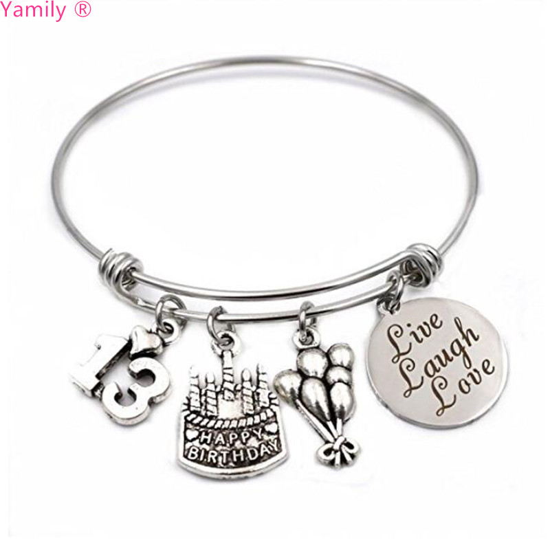 Birthday Gifts Happy birthday Stainless Steel Expandable Bangle 13th Sweet 16 18th 21st 30th 40th 50th 60th for her gift bangle