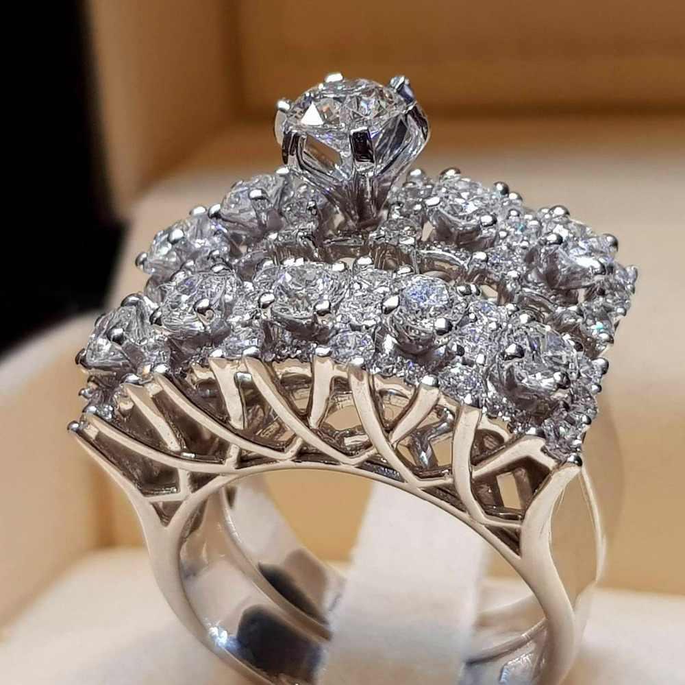 Boho หญิงชุดแหวนคริสตัลหรูหราสัญญา 925 แหวนเงิน Vintage สำหรับผู้หญิง 2019 ใหม่ปีของขวัญ