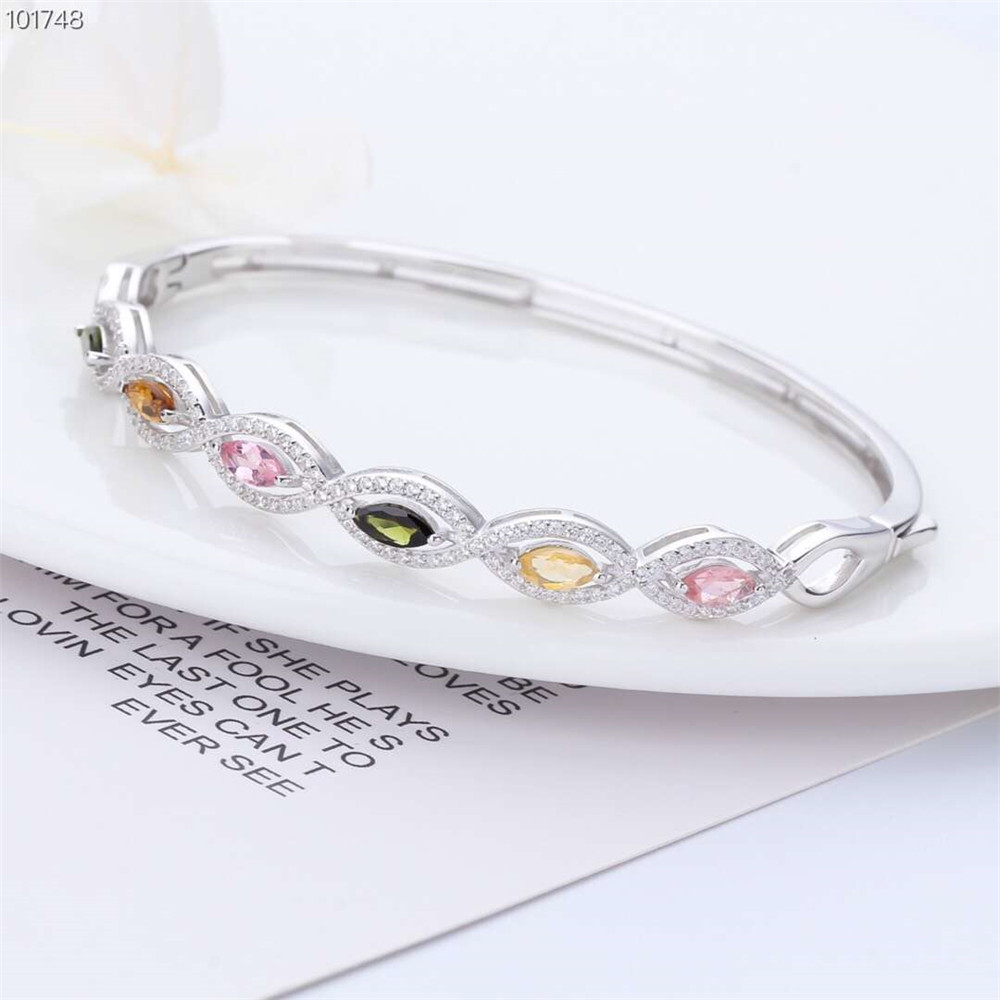 gemstone jewelry factory wholesale white 925 sterling silver natural colorful tourmaline adjustable bracelet for women
