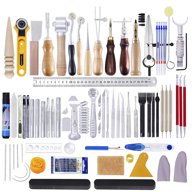 1Set Leather Craft DIY Punch Hand Stitching With Groover Awl Edge Creaser Mat Carving Sewing Tools For Leather Working Kit