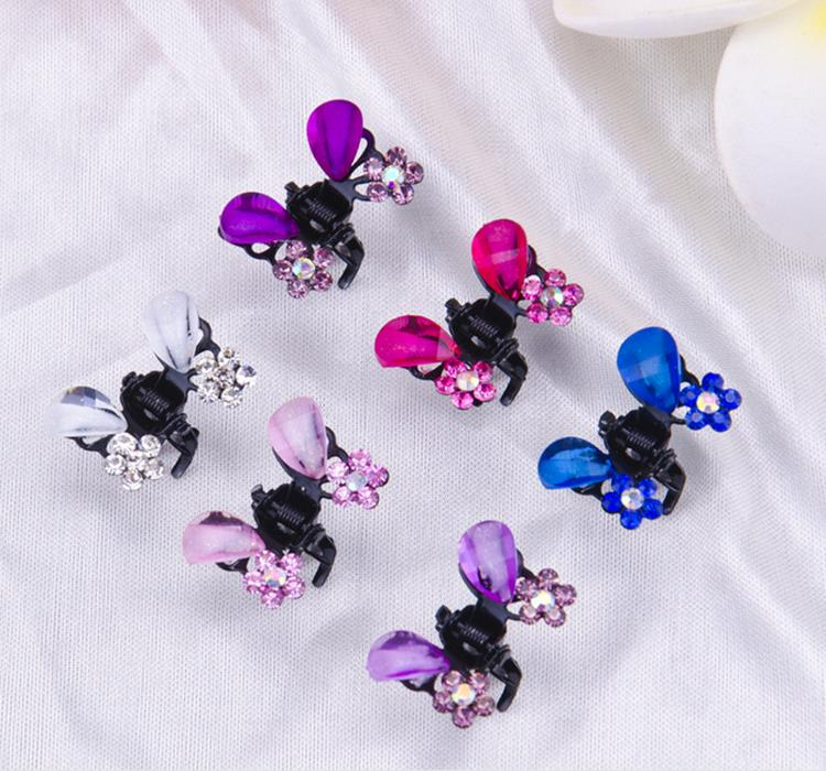 12pcs/lot Rhinestone alloy butterfly claw clip hair accessory Cute Crystal Flower Shape Mini Hairpin Girls Kids Hair Accessories 1 set new girls colorful carton hair clips small crabs hair claw clips mini hairpin kids hair ornaments claw clip