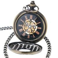 2017 Wood Circles Bronze Retro Steampunk Mechanical Pocket Watch Hand Wind Man Women Nurse Gift With Necklace Chain