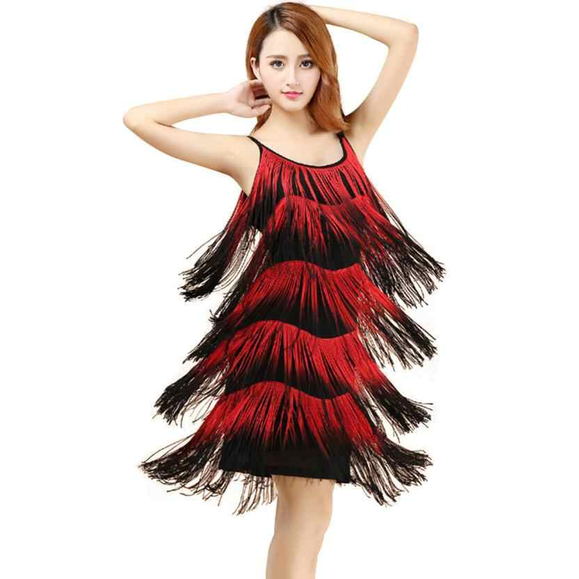 Fringe Spaghetti Strap Latin Dance Tassel Dress Fashion Style Women  Sleeveless Beach Dresses Flapper Clubwear Dresses14 ea9743f4d0cb