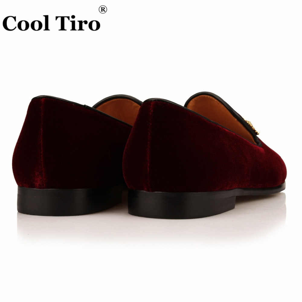 Keren Tiro Bunga Kristal Bros Pria Gaun Burgundy Beludru pria Sepatu Moccasins Loafers Sandal Flats Kasual Kulit Asli
