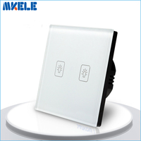 EU Standard Touch Switch 2 Gang 1 Way White Crystal Glass Panel Light Switch Touch Screen