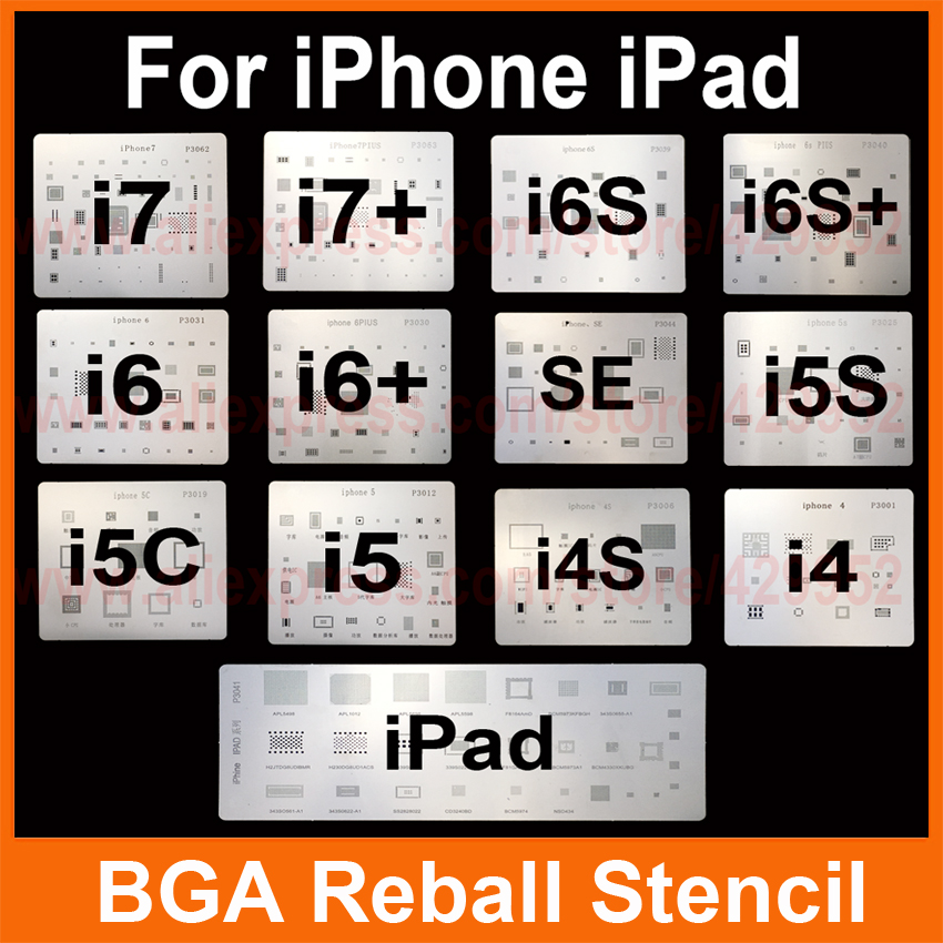 купить 13pcs/lot IC Chip BGA Reballing Stencil Kits Set Solder template for iphone 4 4s 5 5C 5s 6 6s 7 Plus ES iPad high quality дешево