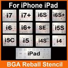 13pcs/lot IC Chip BGA Reballing Stencil Kits Set Solder template for iphone 4 4s 5 5C 5s 6 6s 7 Plus ES iPad high quality