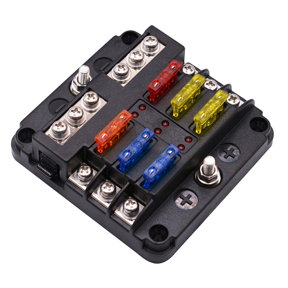 12v 32v plastic cover fuse box holder m5 stud with led. Black Bedroom Furniture Sets. Home Design Ideas