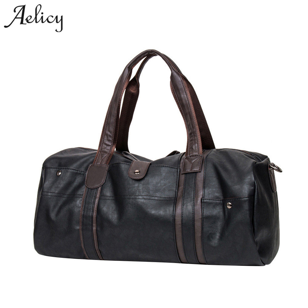 Aelicy Men Travel bag fashion Large capacity shoulder handbag Designer Casual PU Leather Crossbody travel bags 2018 high quality