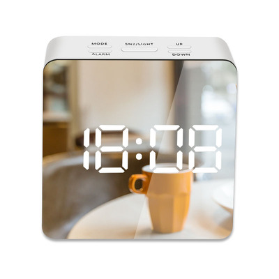 LED Mirror Alarm Clock Digital Snooze Table Clock Wake Up Light Electronic Large Time Temperature Display Home Decoration Clock 7