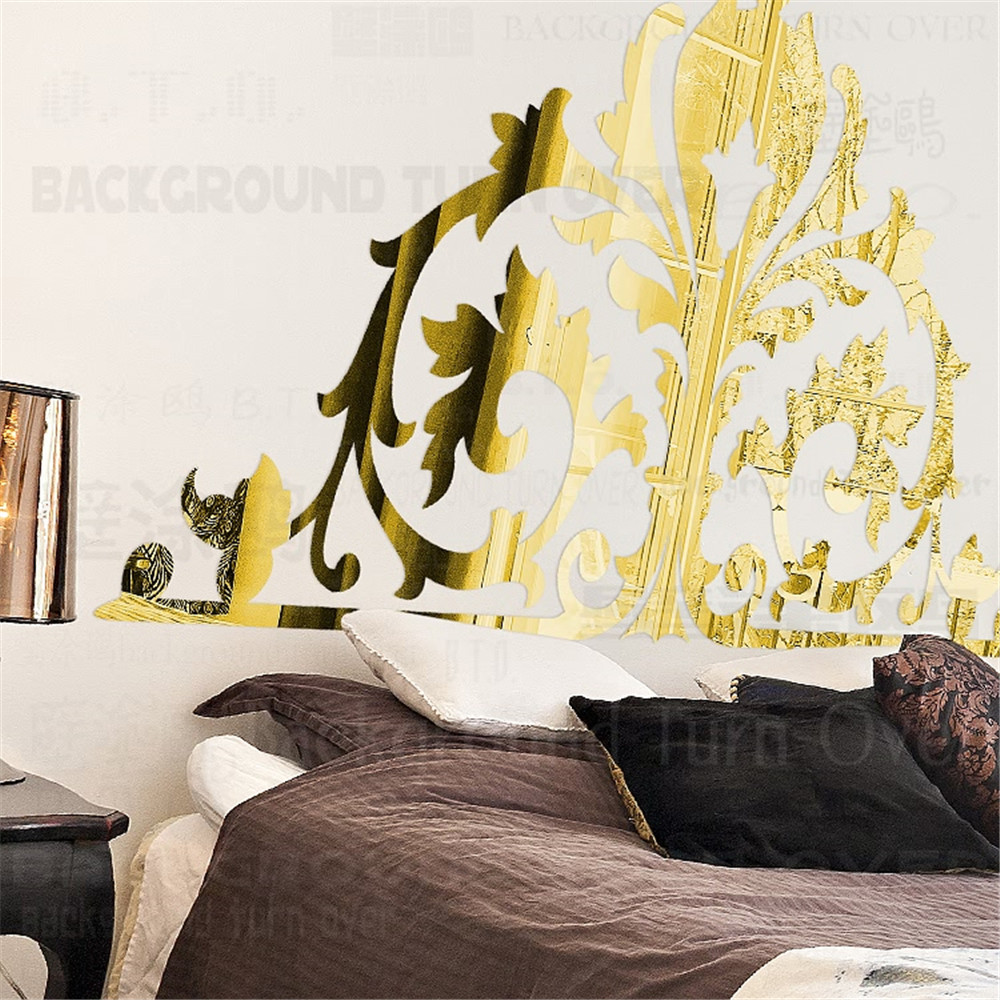 31pcs/set Palace Style 3D Acrylic Mirror Wall Stickers Bedroom ...