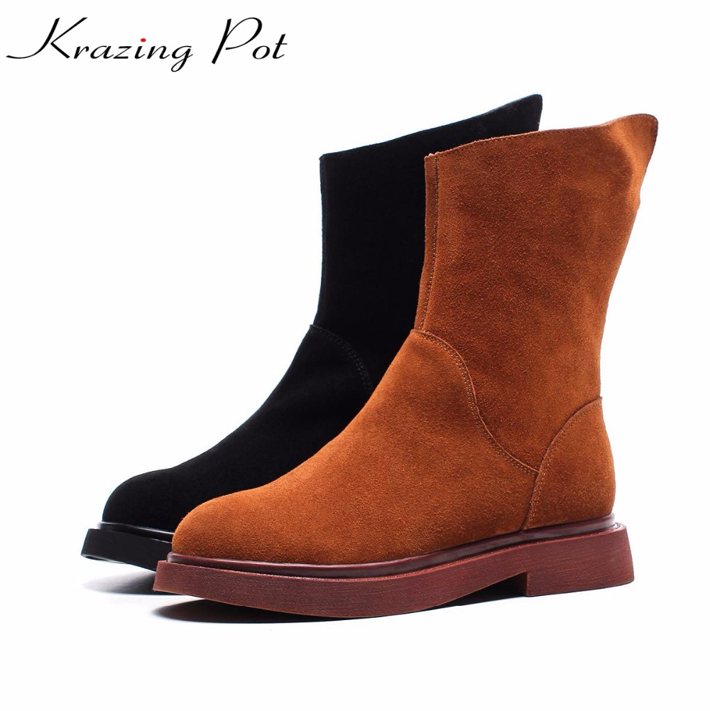 Krazing Pot hot sale cow suede streetwear med heels keep warm cowboy boots round toe nude western keep warm mid-calf boots L93 krazing pot hot sale cow suede round toe thick high heels fashion office lady bowtie design keep warm quality ankle boots l8f1