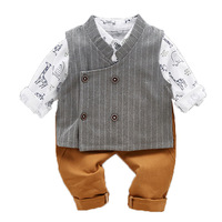 3PCS WLG baby boys spring clothing sets boys autumn T shirt vest and pants set kids clothes for 9 month to 3 years