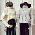 Пончо Специальное Предложение Толстая Настоящее Полный Пуловеры Женщин Пуловеры 2017 Зима Свитер Теплый Свободные Твердые Твист Водолазка Хеджирование