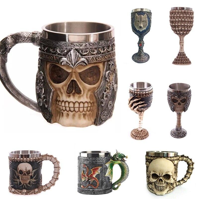 Knight Gothic helmet Drinking Drinkware 3D resin simulation Skull stainless steel Tankard Striking Skull Warrior