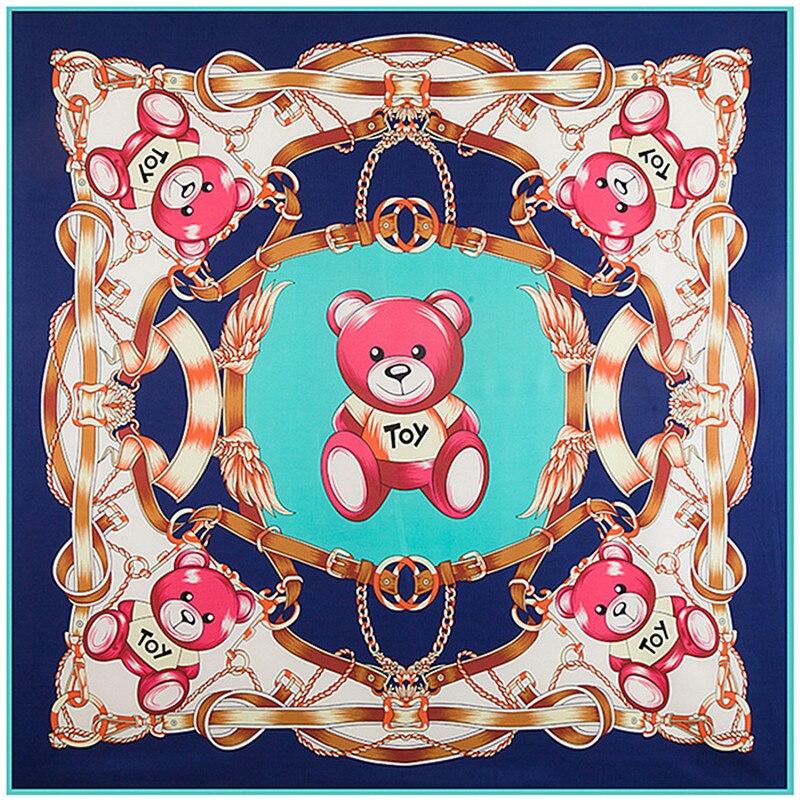 130 Cm * 130 Cm Hohe Qualität Großen Quadratischen Schals Köper Schals, Luxus Marke Spielzeug Bär Kette Print Silk Schal Für Frauen Stirnband